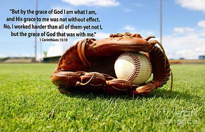 1st Corinthians15 Verse 10 With Baseball Theme Poster by Barbara Dalton