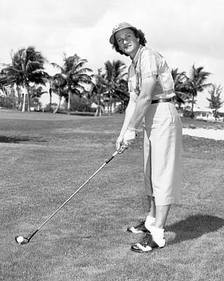 Babe Didrikson Golfing Poster by Underwood Archives