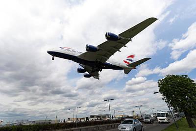 British Airways A380 Heathrow Airport Poster by David Pyatt