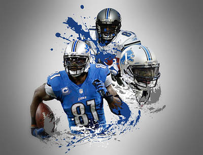 Calvin Johnson Lions Poster by Joe Hamilton
