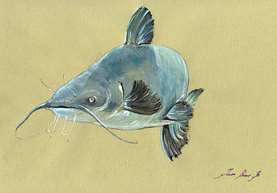 Channel Catfish Fish Animal Watercolor Painting Poster by Juan  Bosco