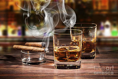 Cigar And Alcohol Collection Poster by Marvin Blaine
