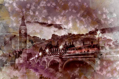 City-art London Westminster Bridge At Sunset Poster by Melanie Viola