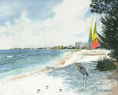 Crescent Beach On Siesta Key Poster by Shawn McLoughlin