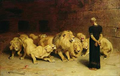 Daniel In The Lion's Den Poster by Briton Riviere