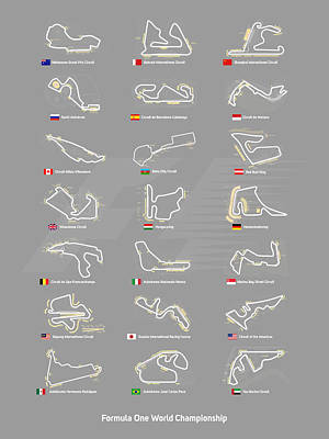 F1 Circuits Poster by Afterdarkness