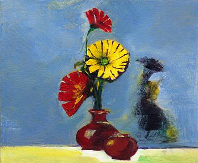 Flowers In Vase Poster by Anil Nene