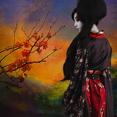 Geisha With Quince Poster by Jeff Burgess