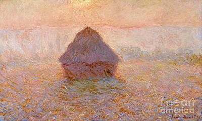 Grainstack - Sun In The Mist Poster by Claude Monet