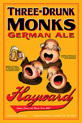 Hayward Three Drunk Monks Poster by John OBrien