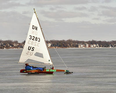 Ice Sailing - Madison, Wisconsin Poster by Steven Ralser