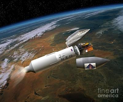 Integral Satellite Launch, Artwork Poster by David Ducros