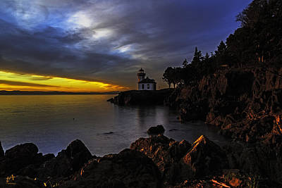 Lime Kiln Lighthouse Sunset Poster by Thomas Ashcraft