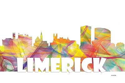 Limerick Ireland Skyline Poster by Marlene Watson