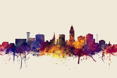 Lincoln Nebraska Skyline Poster by Michael Tompsett