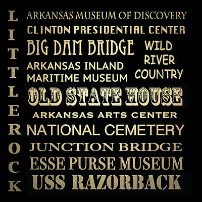 Little Rock Famous Landmarks Poster by Patricia Lintner