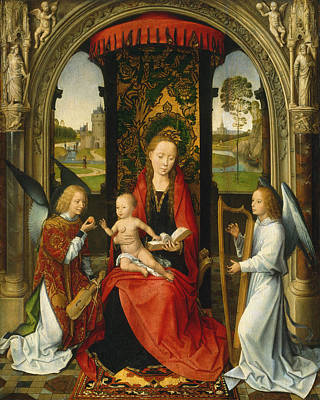 Madonna And Child With Angels Poster by Hans Memling