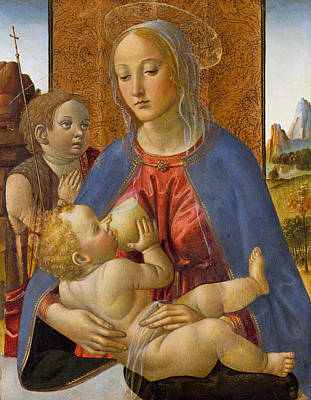 Madonna And Child With The Young Saint John The Baptist Poster by Cosimo Rosselli