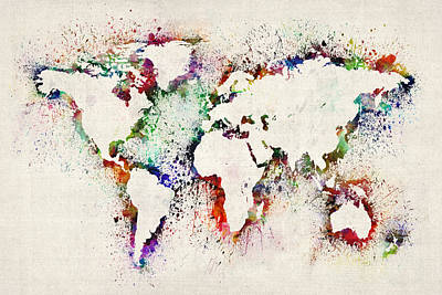 Map Of The World Paint Splashes Poster by Michael Tompsett