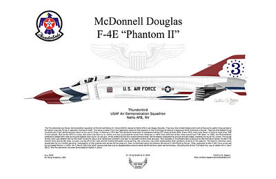Mcdonnell Douglas F-4e Phantom II Thunderbird Poster by Arthur Eggers