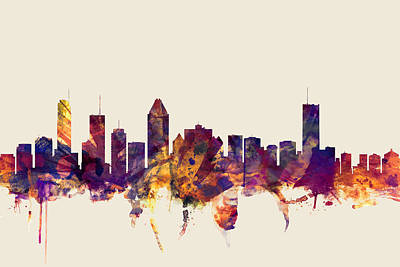 Montreal Canada Skyline Poster by Michael Tompsett