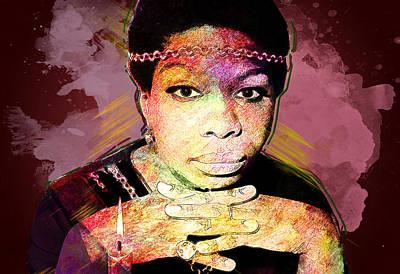 Nina Simone Poster by Elena Kosvincheva