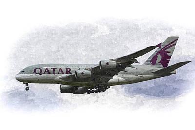 Qatar Airlines Airbus Art Poster by David Pyatt
