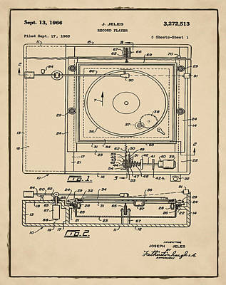 Record Player Patent 1966 Sepia Poster by Digital Reproductions