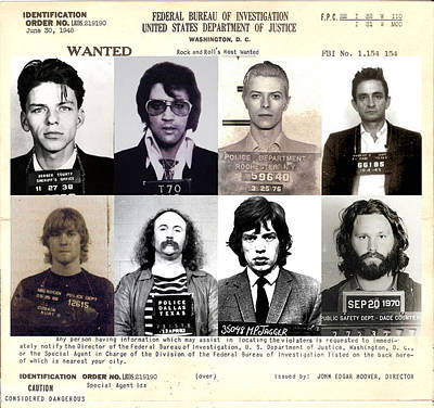 Rock And Roll's Most Wanted Poster by Lee Dos Santos