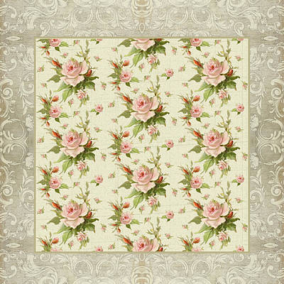 Summer At Cape May - Aged Modern Roses Pattern Poster by Audrey Jeanne Roberts