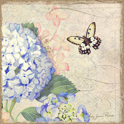 Summer Memories - Blue Hydrangea N Butterflies Poster by Audrey Jeanne Roberts