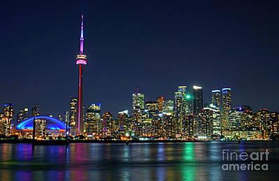 Toronto Night Skyline Poster by Charline Xia