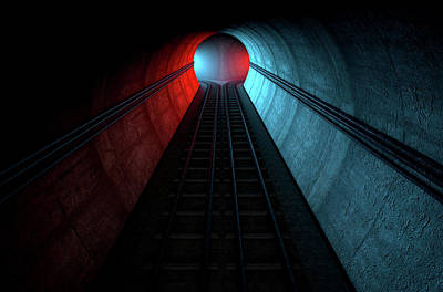 Train Tracks And Tunnel Split Choices Poster by Allan Swart