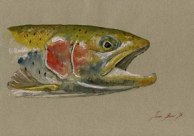 Trout Watercolor Painting Poster by Juan  Bosco