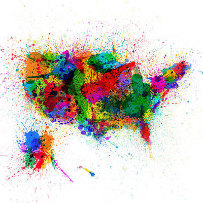 United States Paint Splashes Map Poster by Michael Tompsett