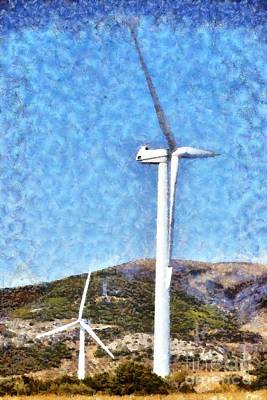 Wind Turbines Poster by George Atsametakis