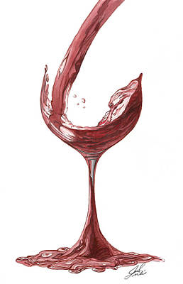 Red Wine Pouring Poster by Julie Senf