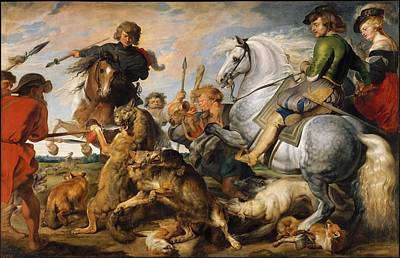 Wolf And Fox Hunt Poster by Peter Paul Rubens