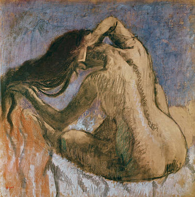 Woman Combing Her Hair Poster by Edgar Degas