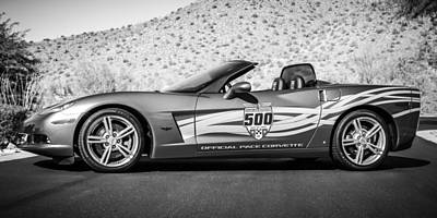 2007 Chevrolet Corvette Indy Pace Car -0003bw2 Poster by Jill Reger