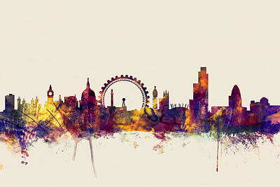 London England Skyline Poster by Michael Tompsett