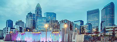Charlotte City Skyline In The Evening Poster by Alex Grichenko
