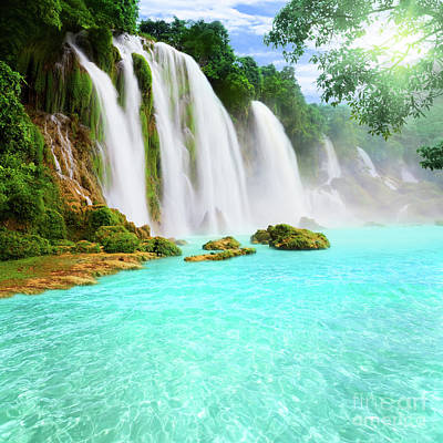 Detian Waterfall Poster by MotHaiBaPhoto Prints