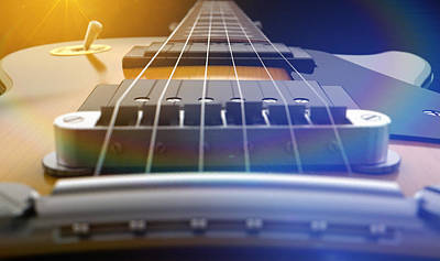 Electric Guitar Abstract Poster by Allan Swart