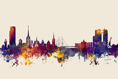 Halmstad Sweden Skyline Poster by Michael Tompsett