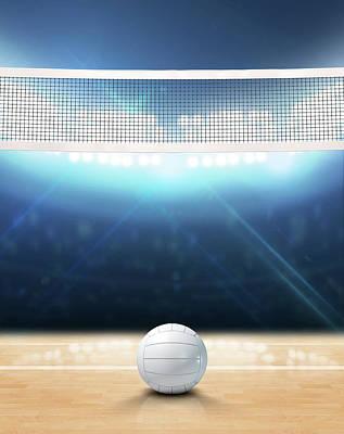 Indoor Floodlit Volleyball Court Poster by Allan Swart