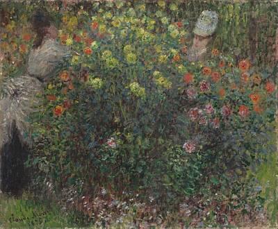 Ladies In Flowers Poster by Claude Monet