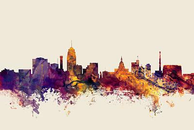 Lansing Michigan Skyline Poster by Michael Tompsett