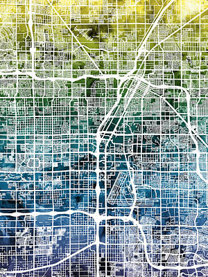 Las Vegas City Street Map Poster by Michael Tompsett