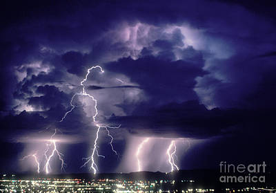 Lightning Strikes Poster by John A. Ey III